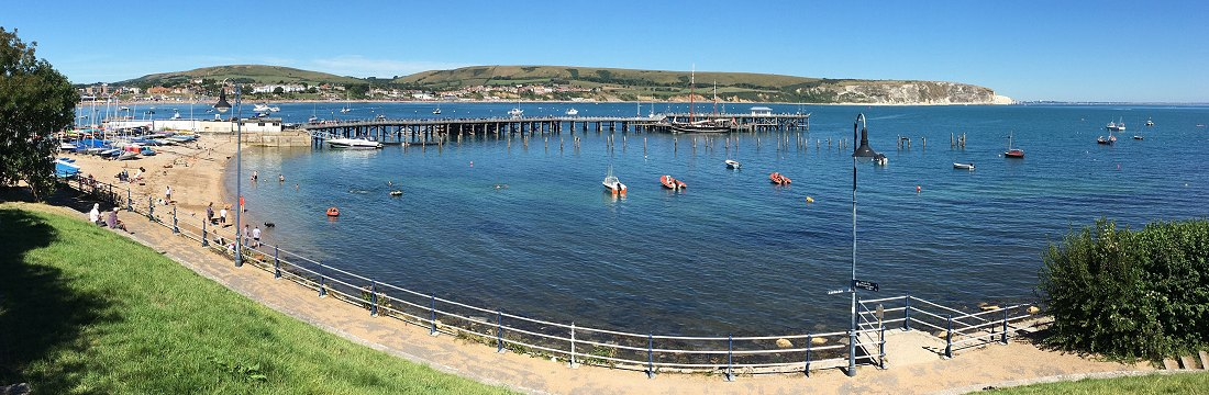 Swanage Pier and view across the bay